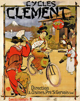 POSTER CYCLES CLEMENT BICYCLE JAPONESE JAPAN CYCLING BIKE VINTAGE REPRO FREE S/H