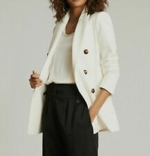 $452 REISS Women's Ivory Astrid Double-Breasted Wool Solid Blazer Jacket Size 6