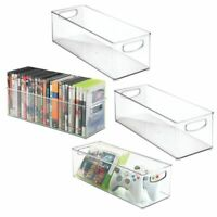 mDesign Plastic Stackable Storage Bin with Handles for Video Games - Clear
