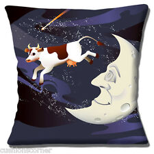 "Nursery Rhyme Cushion Cover 16""x16"" 40cm 'The Cow Jumped Over The Moon'"