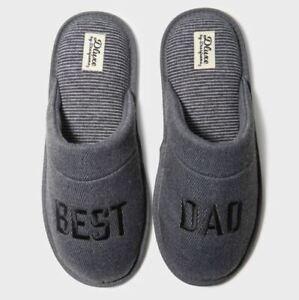 Men's Dluxe by Dearfoams Best Dad Slide Slippers Gray - CHOOSE SIZE