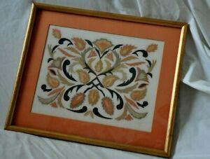 "Vintage Original Hand Cut Paper Art  Folk Art Prof. Framed 12"" x 14"" Signed JR"