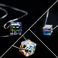 Fashion Charm Women Magic Cube Crystal Chain Necklace Pendant Gift FineJewelryVG