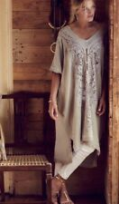 13. Anthropologie Knitted & Knotted Women's Navan Crochet Caftan Tan Beige