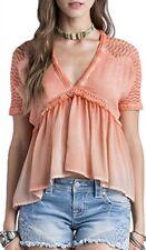 NWT Miss Me Coral Orange V- Neck Ruffle Top/ Shirt- Size Medium MDT1856S