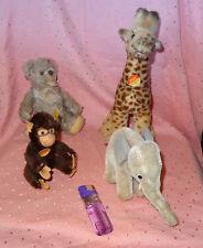 4 Stück alte Steiff Tiere / Teddy + Giraffe + Affe + Elefant