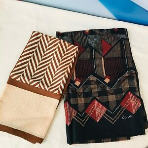Vintage Lot of 2 Scarf Herringbone Geometric Handkerchief Bandana Pocket Square