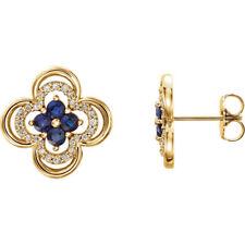 14kt Yellow Genuine Blue Sapphire & 1/5 ct. tw. Diamond Clover Earrings