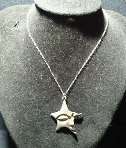 Vintage Sterling silver celestial half face star pendent chain necklace unusual