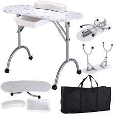 Manicure Nail Table Portable Station Desk Spa Beauty Salon Equipment - White