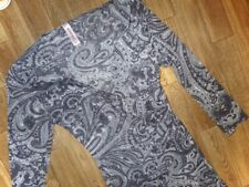 SWEET PEA/ANTRHROPOLOGIE - GRAY PAISLEY RUCHED SURPLICE MESH TOP - MISSES S
