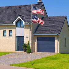 16/20/25ft Flag Pole Telescopic Aluminum Flagpole Kit US With 2 Flag Fly