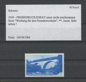 SWITZERLAND SPECIMEN 1950 ESSAY TRIAL TEST PRINT PROOF BRIDGE TRAIN (m2151