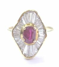 Fine Gem Ruby Diamond Mushroom Yellow Gold Jewelry Ring 14KT 1.75Ct