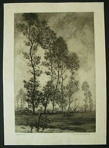"""Antique Original Aquatint Etching by Charles Henry Baskett - """"After The Shower"""""""