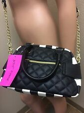 Betsey Johnson Quilted MINI SATCHEL BM19425 BLACK SEQUIN BOW, STRIPE HEART Charm