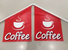 2 x Coffee Wall Flag Double Sided Print VINYL | 60cm x 40cm | FREE POST & GST IN