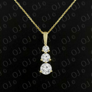 """Past-Present-Future!!Trilogy Simulated Diamond 18"""" Pendant 14K Solid Yellow Gold"""