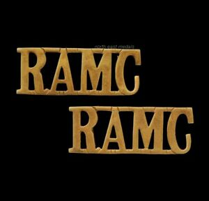 Matching Pair of 'RAMC' Royal Army Medical Corps Shoulder Title Badges