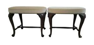 PAIR Vintage Footstool Vanity Bench Stools Mahogany Wood Upholstered Nailhead