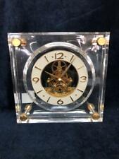 Seiko Quartz Lucite Skeleton Gold Brass Vintage Not Working Clock 027B