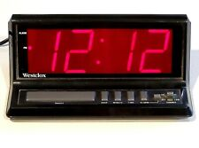 "Westclox large red digital display model 22704 alarm clock 3-1/4"" tall AC power"