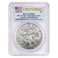2020 (P) 1 oz Silver American Eagle PCGS MS 69 FS Emergency Issue
