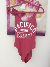 Topshop Pink Pacifico 1990 Bodysuit, UK Size 12 New