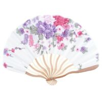 2X(Bamboo Flower Printed Japanese Style Foldable Hand Held Fan Gift Decor P1Z8)