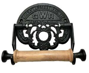 VICTORIAN STYLE TOILET ROLL HOLDER  BLACK IRON GWR RAILWAY NOVELTY RETRO