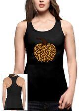 Leopard Halloween Pumpkin Shirt Fall Top Cute Graphic Tee Racerback Tank Top