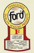 Ford 1 Cent Gumball CoinOp Vending Water Slide Decal N DF 1004