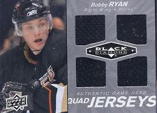 BOBBY RYAN 2010-11 BLACK DIAMOND QUAD BLACK  GAME USED JERSEYS