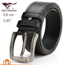 Men gift. Genuine black real leather Cow skin Pin Buckle wide Casual Belts.