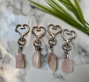 Rose Quartz Crystal heart Keyring chain gemstone chakra Healing Love reki Yoga