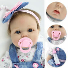 "Vinyl Silicone Reborn Doll Real Life Like Looking 22"" Newborn Baby Dolls Dress"