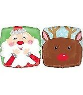 Amscan 18-inch Jolly Santa and Reindeer Balloon - Christmas HO 18 Square Foil 2