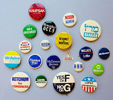 VINTAGE 20 POLITICAL - CAMPAIGN PINBACK BUTTONS : NIXON + CARTER + McGOVERN  +++