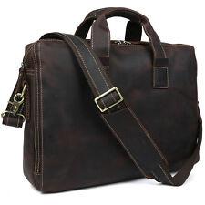 New Vintage Briefcase Men Messenger Shoulder Bag Genuine Leather Laptop Bag