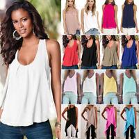 Women's Sleeveless Chiffon Vest Tank Tops Loose Blouse Casual Shirts Tee Cami