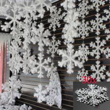 30Pcs White Snowflake Plastic Ornaments Christmas Holiday Party  Xmas Home Decor