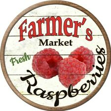 "Farmers Market Raspberries 12"" Round Metal Kitchen Sign Novelty Retro Home Decor"