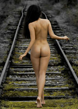 Sexy Nude Naked Butt Picture Photo of Female Woman Girl on Train Tracks