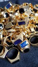 Steel Metal Ring 18K Gold Plated Black Blue Stone Engagement Wedding lot 25pcs