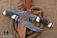 HUNTEX Custom Handmade Damascus Steel 33 cm Long Round Scale Hunting Bowie Knife