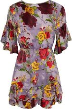 ALICE + OLIVIA Katrina Bell-Sleeve Ruffle Fil Coupé Chiffon Mini Dress, Size 8