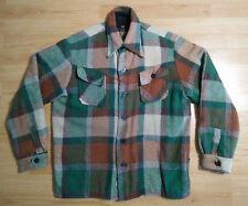 Cabot Jacket M Western Work Coat Plaid Rockabilly Green Red White Blue Vintage