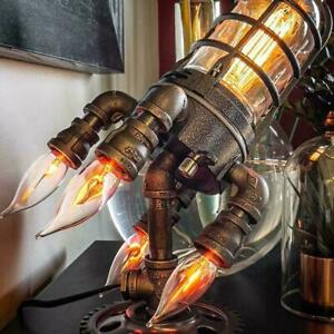Early Father's Day∣ Steampunk Style Table Lamp Rocket Light Retro Decor Q4R0