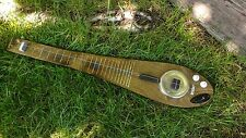 Diddley Bow, Chromatic, Bottom of Dog dish Resonator with wound pickup.
