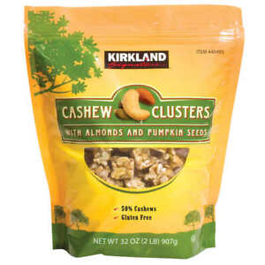 Kirkland Signature Cashew Clusters with Almonds and Pumpkin Seeds 32 Oz New F/S